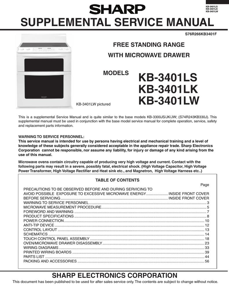 kb-3401ls kb-3401lk kb-3401lw supplemental service manual ... on