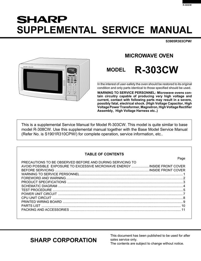 sharp r 303cw service manual manualzz com rh manualzz com Microwave Sharp Tools Microwave Sharp Tools