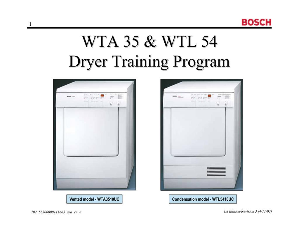 2 mb 19th jul 2013 bosch wta 35 wtl 54 dryer training program rh manualzz com