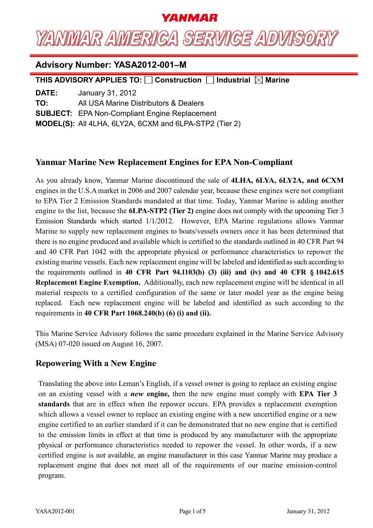 Advisory Number: YASA2012-001–M Yanmar Marine New