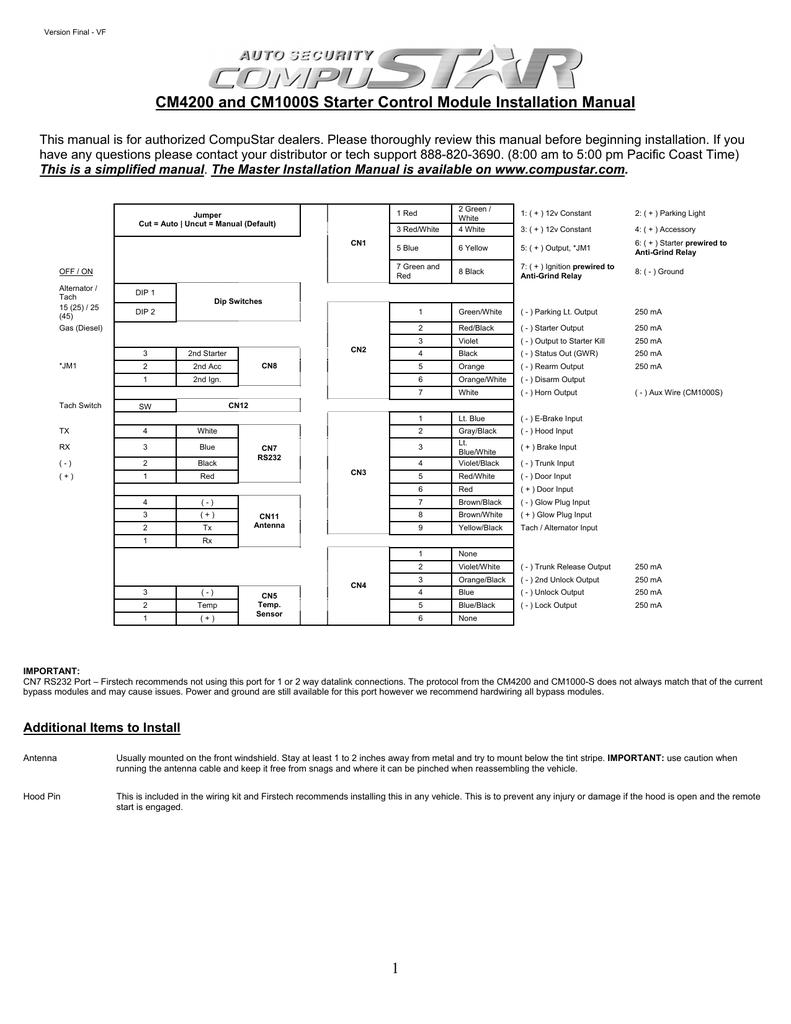 Compustar Remote Start Wiring Diagram W
