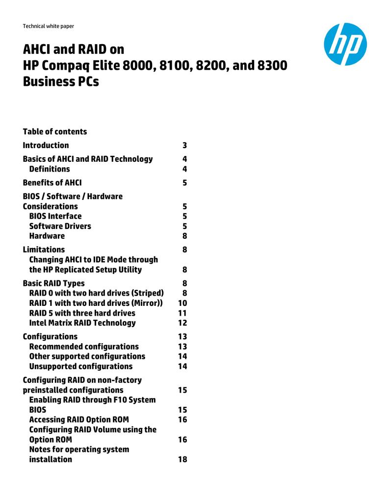 AHCI and RAID on HP Compaq Elite 8000, 8100, 8200, and 8300