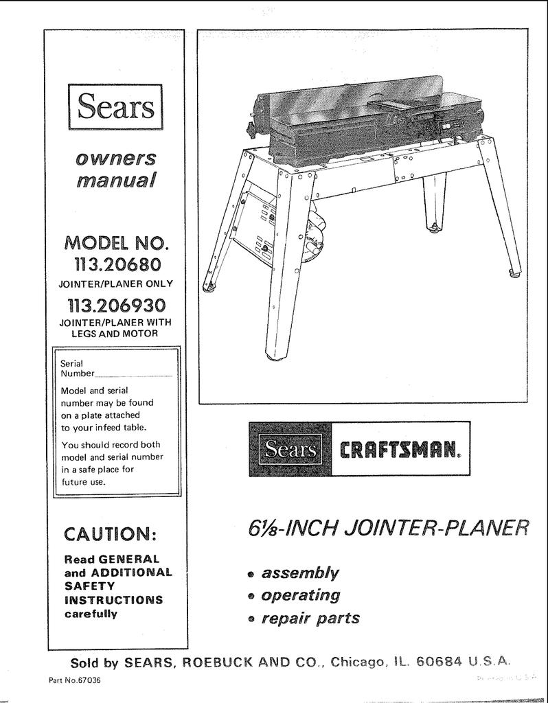 Craftsman 4 3//8 Jointer Operators Manual No.103.21820