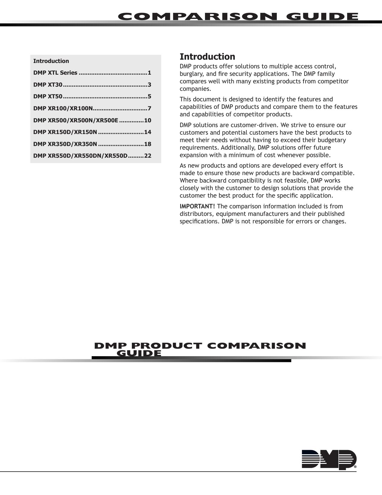 comparison guide dmp com digital monitoring products manualzz com rh manualzz com dmp xr 500 programming manual DMP XR 500 User's Guide