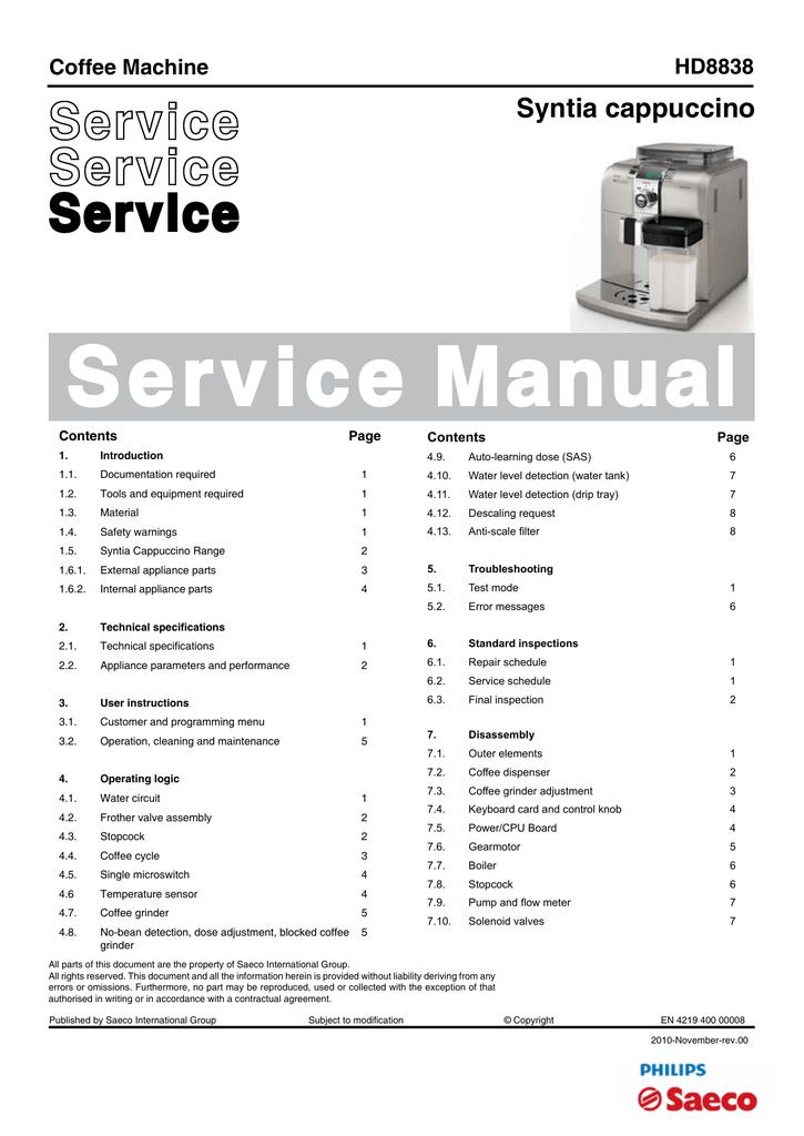 saeco syntia hd8838 service manual manualzz com rh manualzz com Facility Manuals Facility Manuals