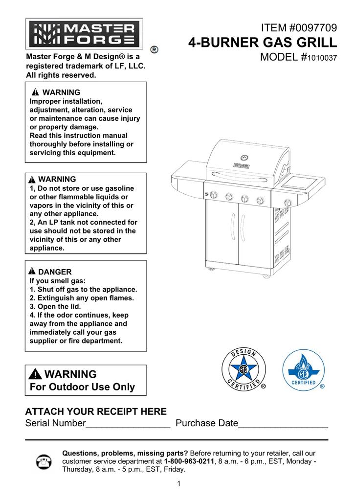 Master Forge 1010037 Instruction manual   manualzz com