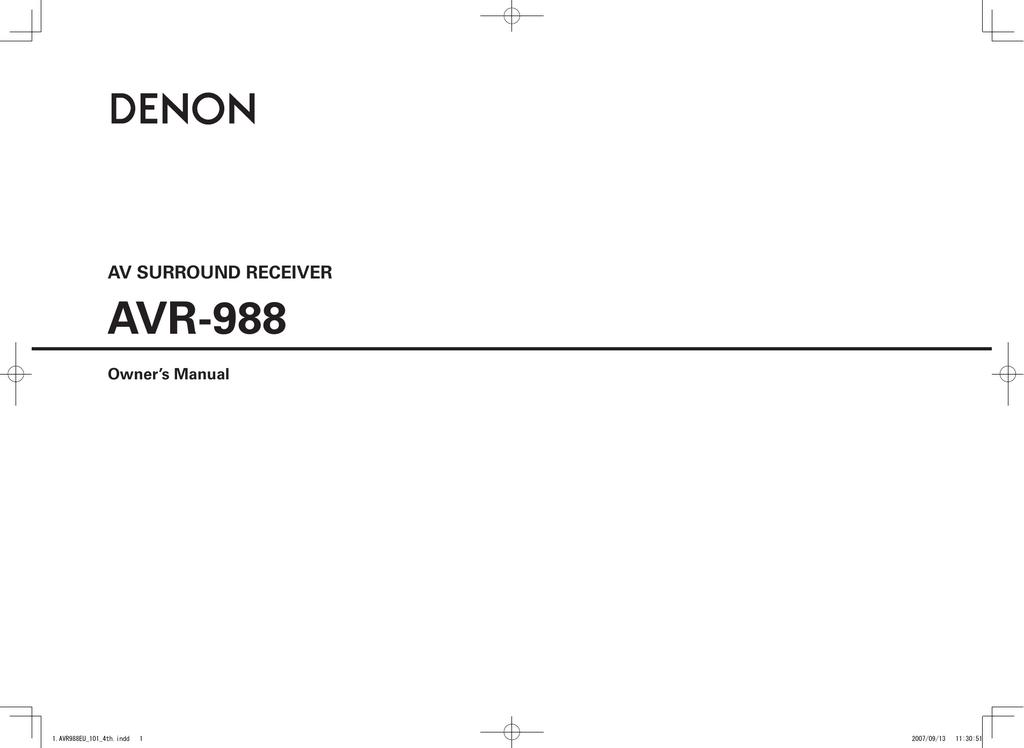 Denon AVR 988 - AV Receiver Owner`s manual   manualzz com
