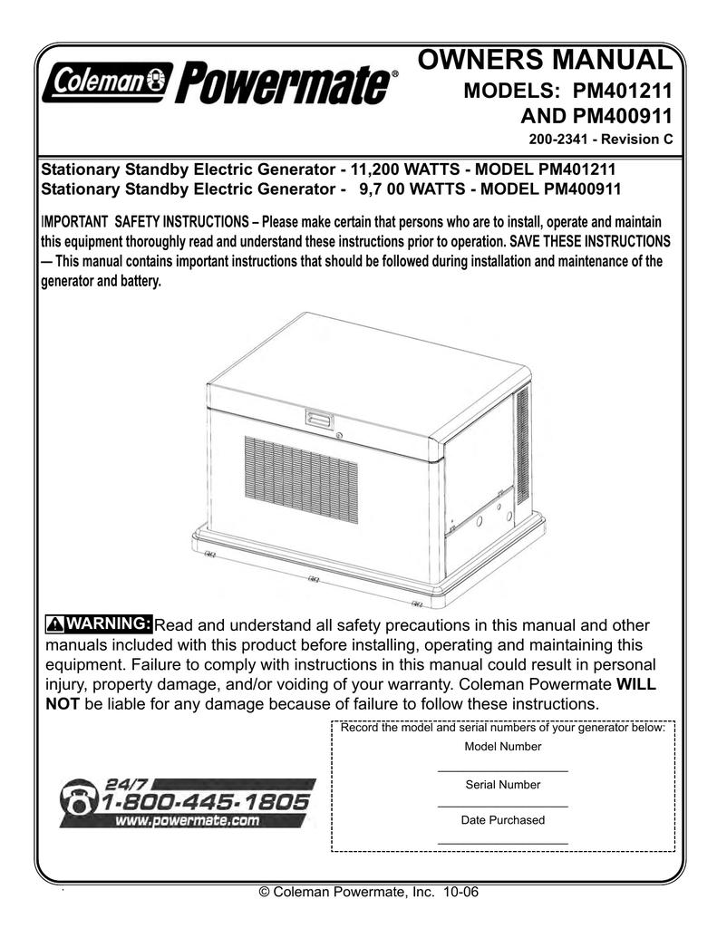 Coleman Powermate PM401211 Specifications | manualzz com