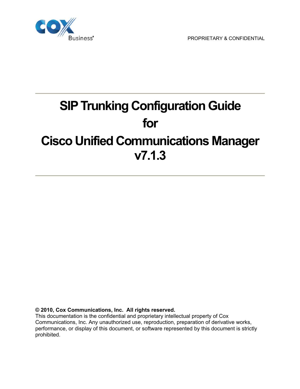 CUCM SIP Trunking Configuration | manualzz com