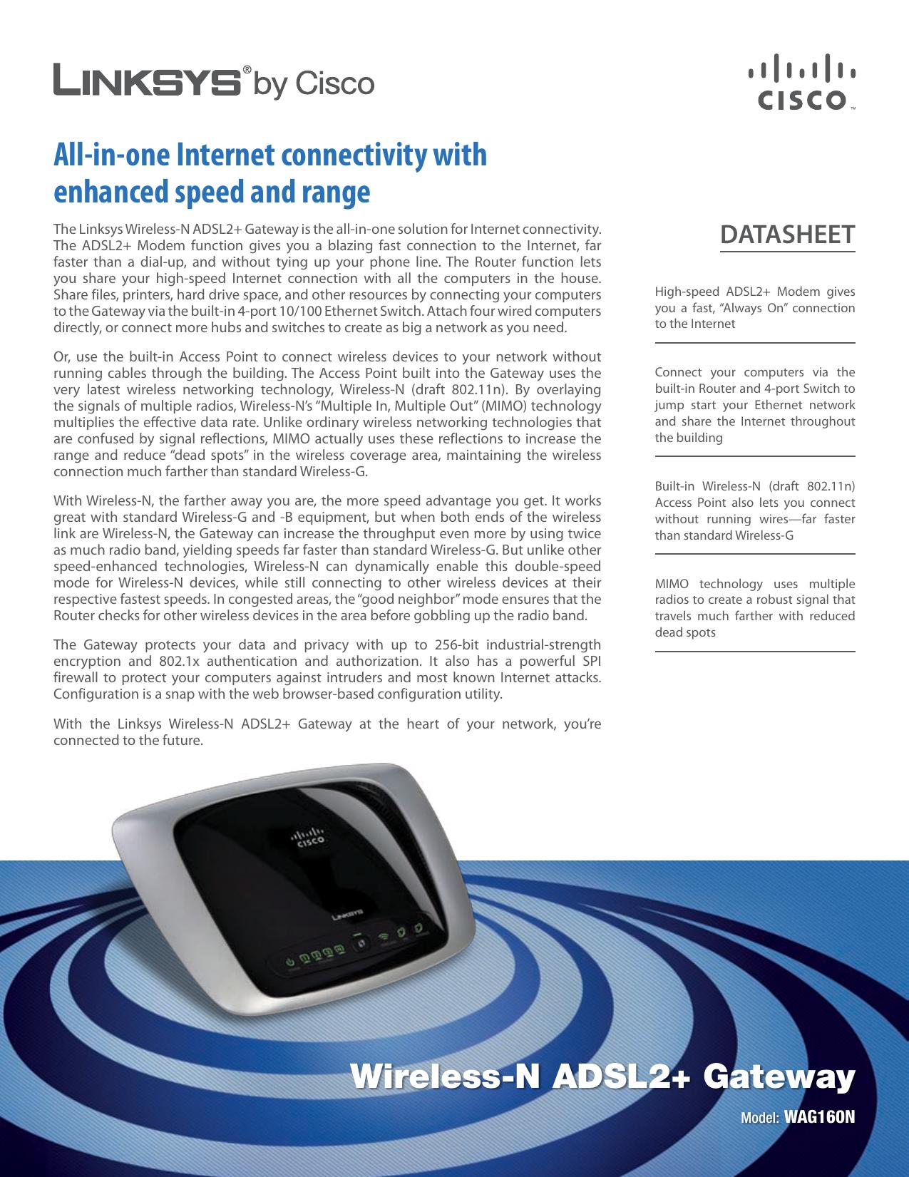 Linksys WAG160N Wireless-N ADSL2+ Gateway   manualzz com