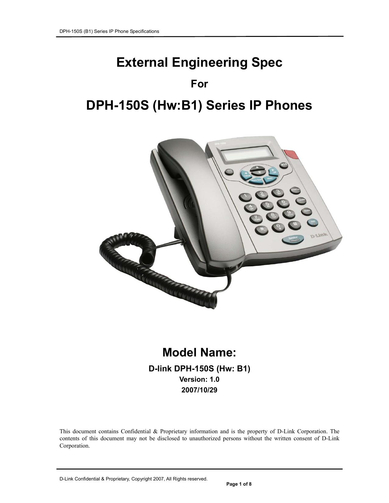 External Engineering Spec DPH-150S (Hw:B1) Series IP Phones | manualzz.com