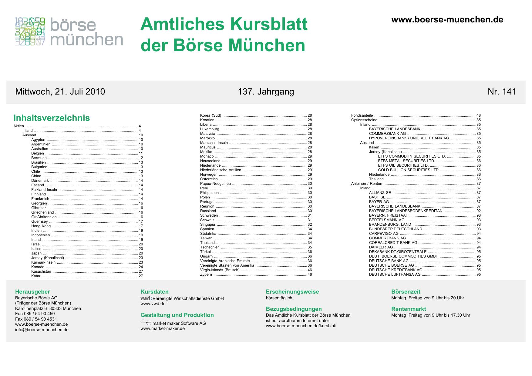 Amtliches Kursblatt der Börse München | manualzz com