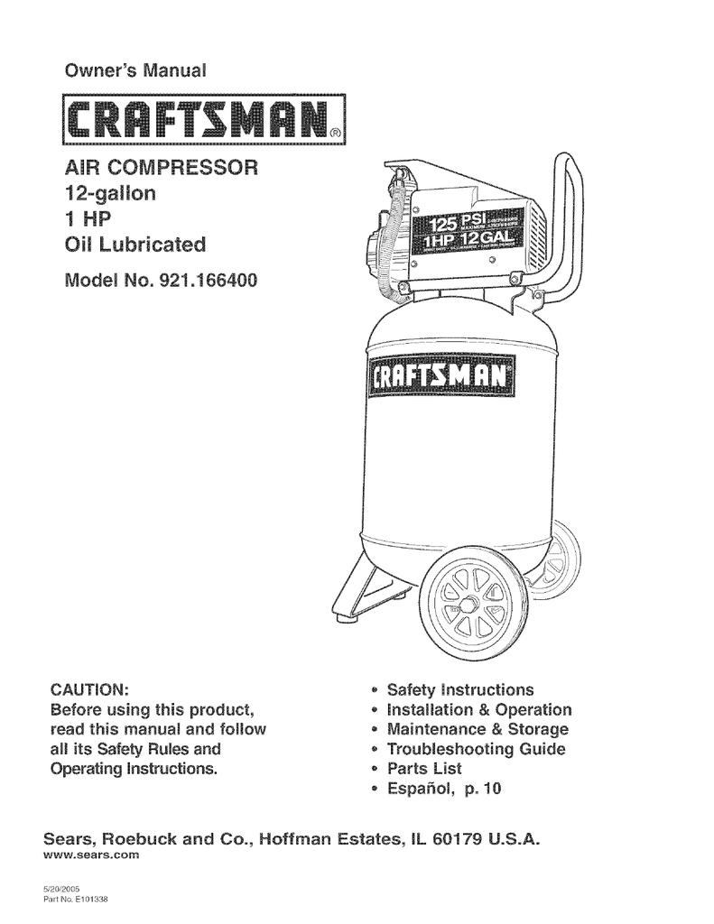 Craftsman 921 166400 Operating Instructions Manualzz