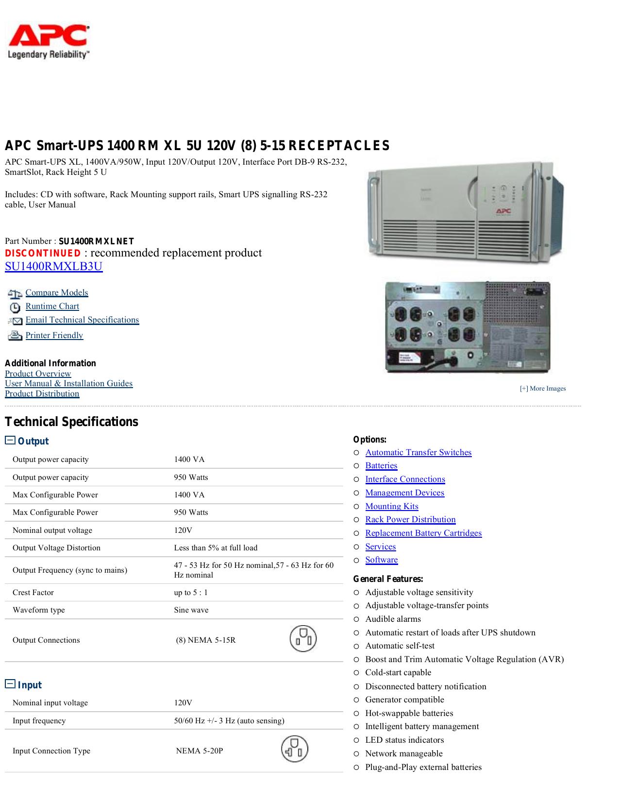 APC Smart-UPS 1400 RM XL 5U 120V (8) 5-15 | manualzz com