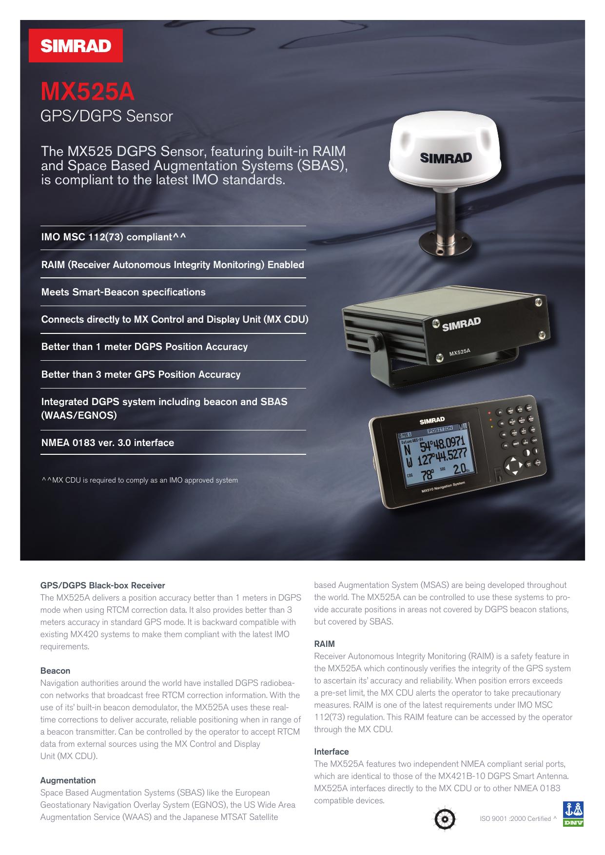 Product Sheet MX525A - Simrad | manualzz com