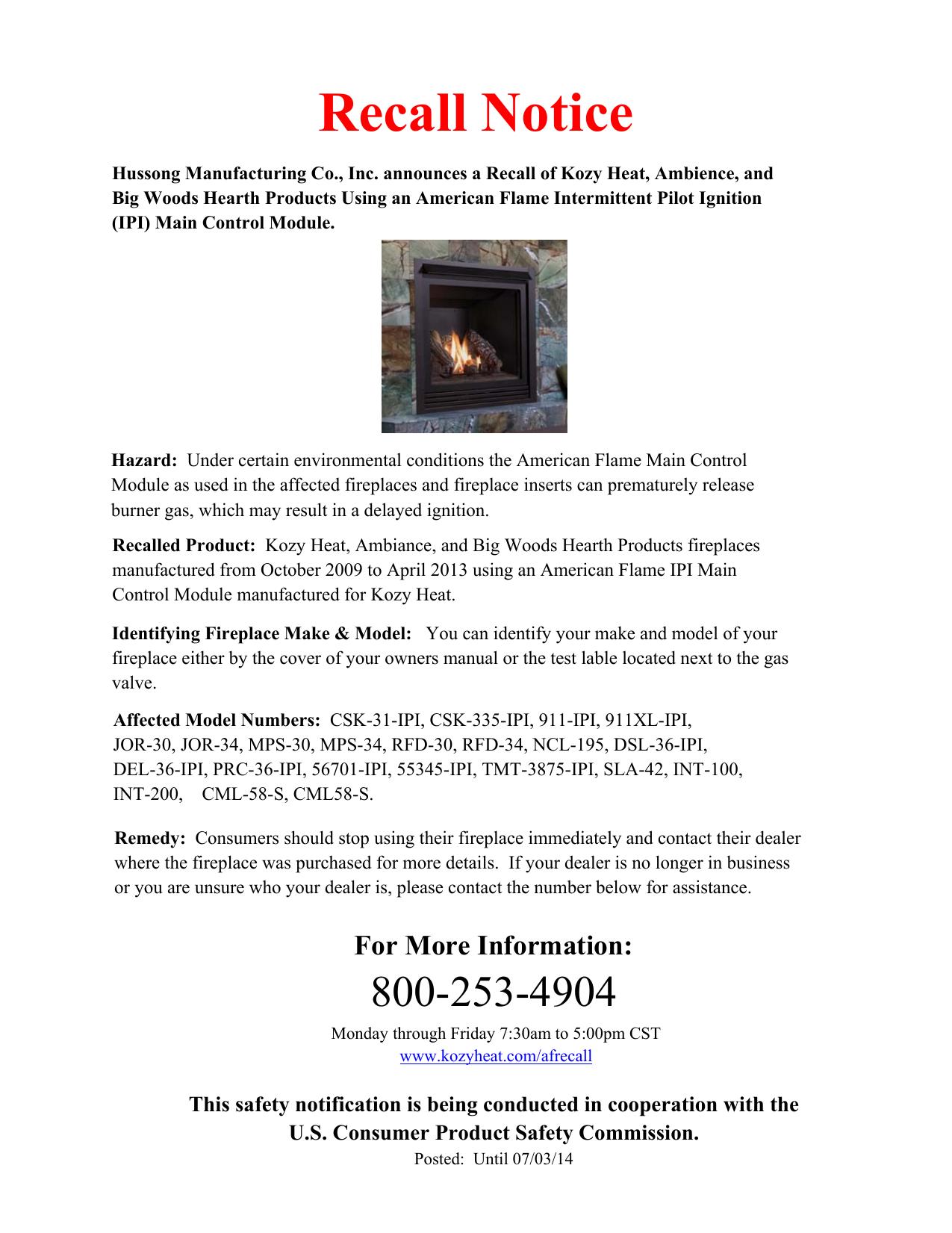 Recall Notice Kozy Heat Fireplaces Manualzz