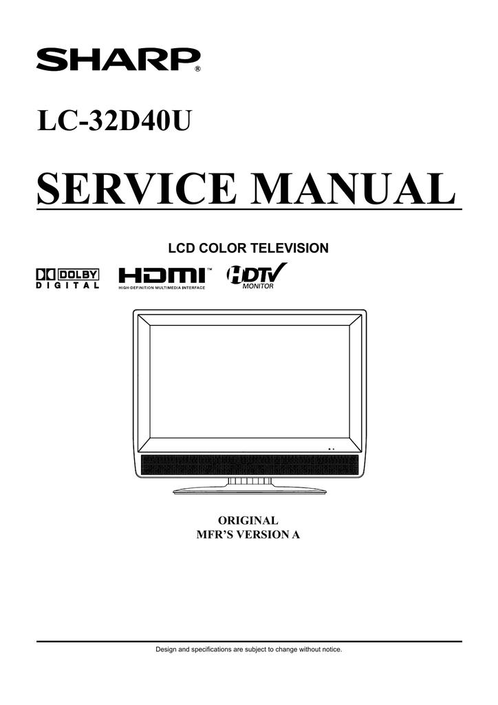 Sharp LC-32D40U Service manual | manualzz com