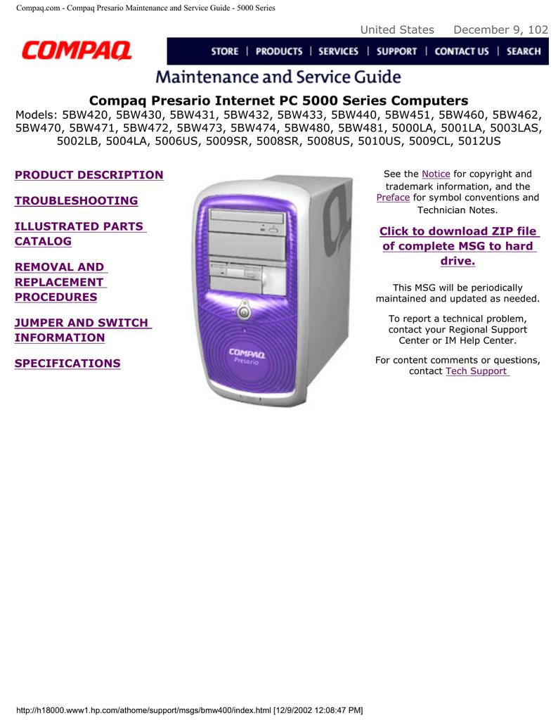 hp compaq presario presario 5bw284 specifications manualzz com rh manualzz com Old Compaq Presario Compaq Presario Desktop