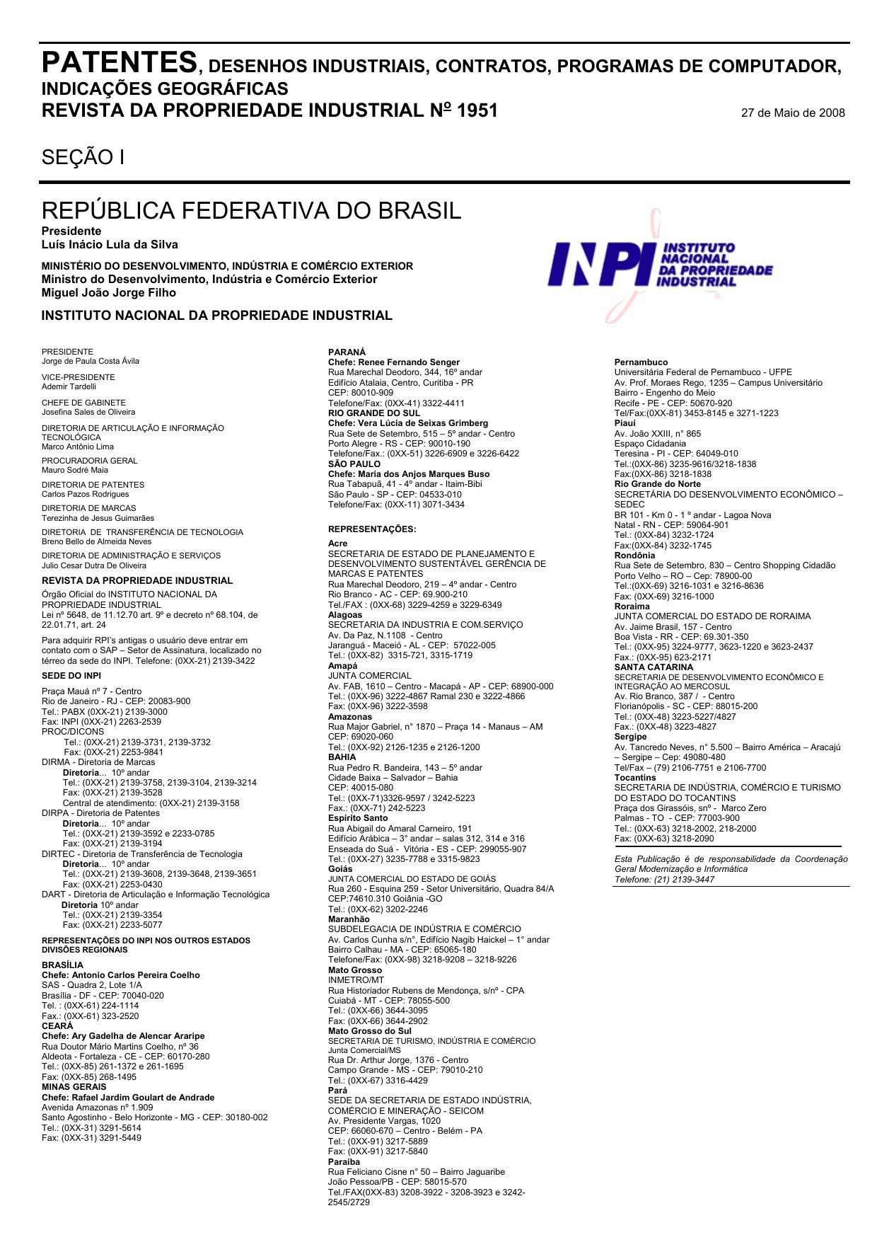 DIRETORIA DE PATENTES - Revista da Propriedade Industrial  ccbff23dc79