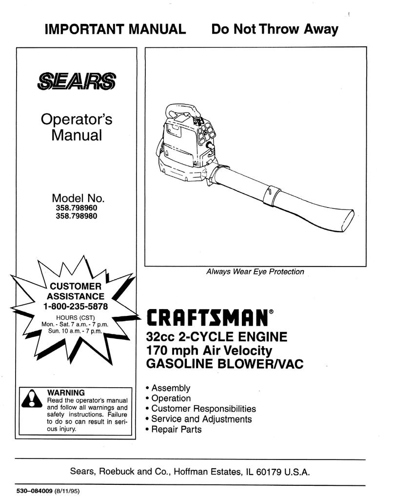Craftsman 358 798980 Operator S Manual