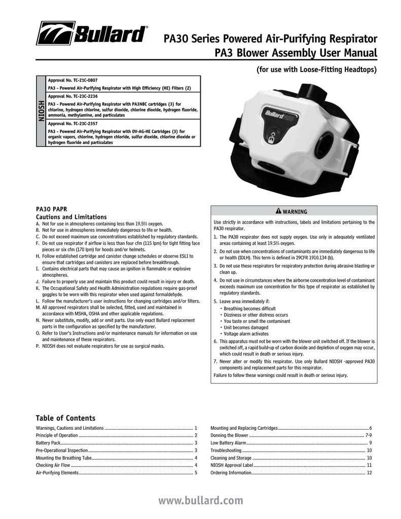 Bullard PA30 Series User manual | manualzz com