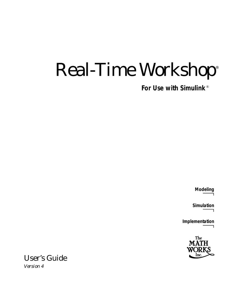 Real-Time Workshop® | manualzz com