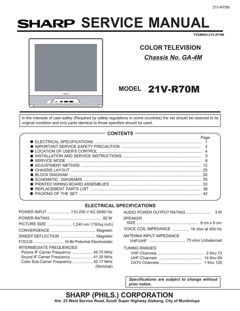 Sharp 21V-R70M Service manual | manualzz com