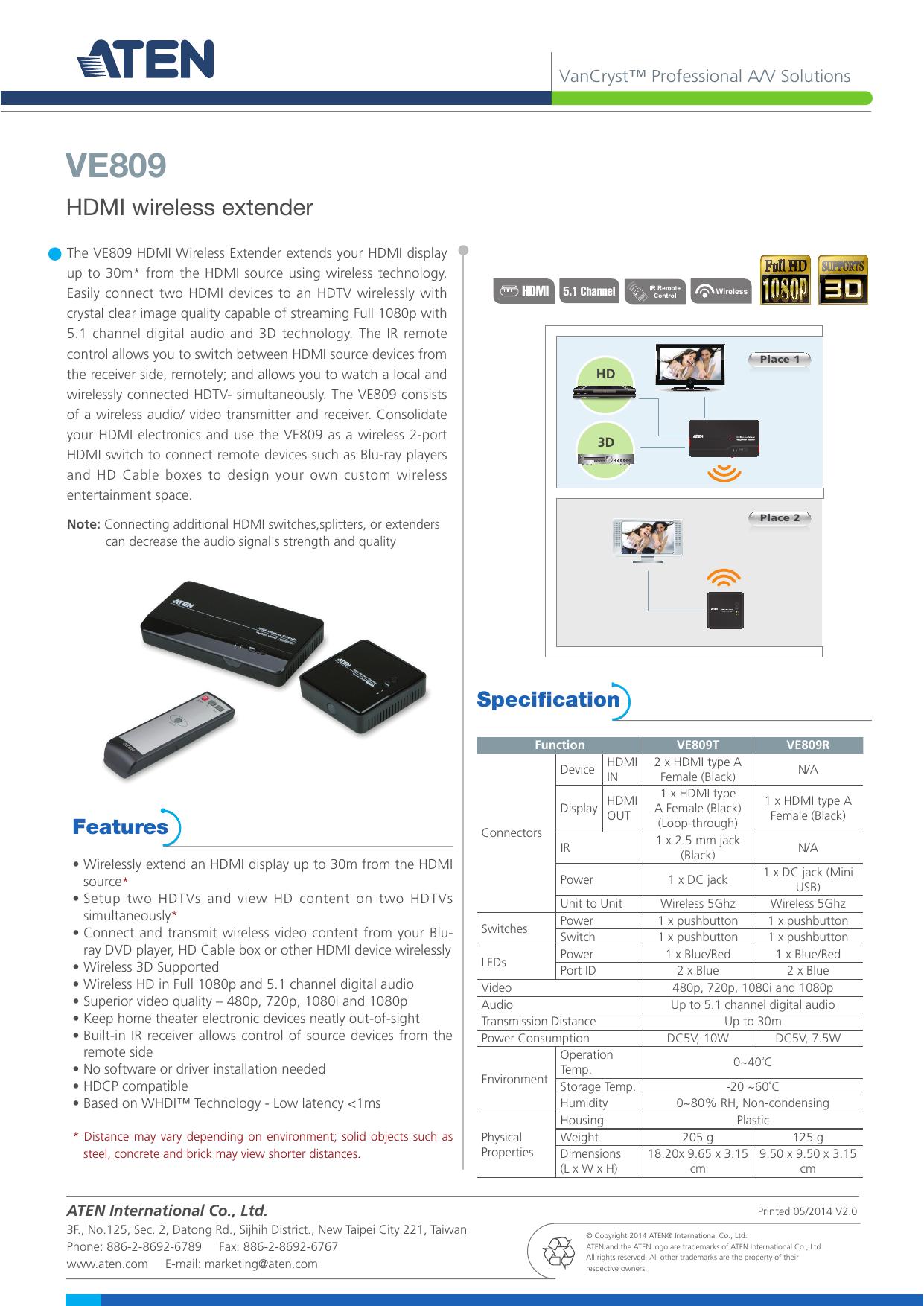 30m, Full-HD Aten VE809-AT-G Wireless HDMI Switch