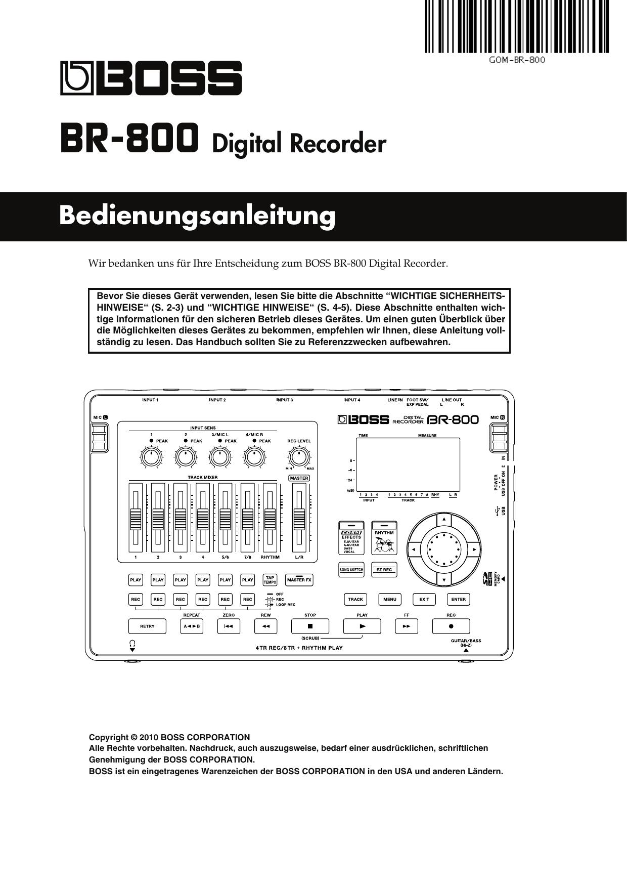 Bedienungsanleitung BR-800 Digital Recorder | manualzz.com