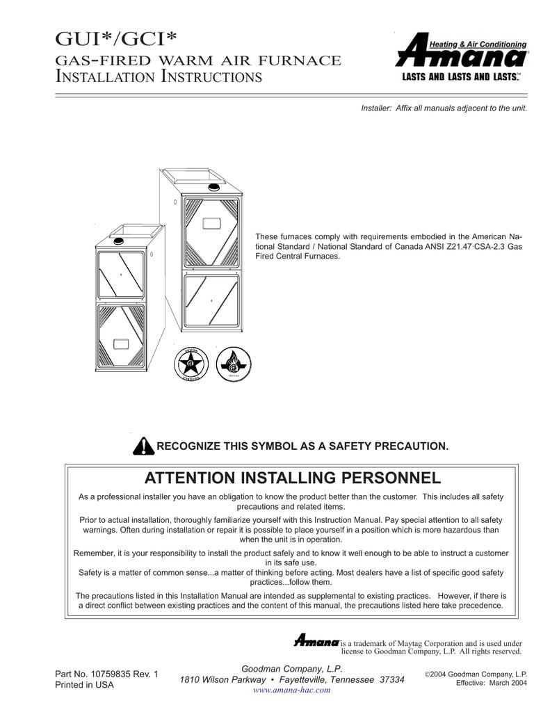 36g22y Gas Furnace Diagram Goodman Schematic Diagrams 36e54 214 Valve Wiring Amana Gci Instruction Manual Manualzz Com