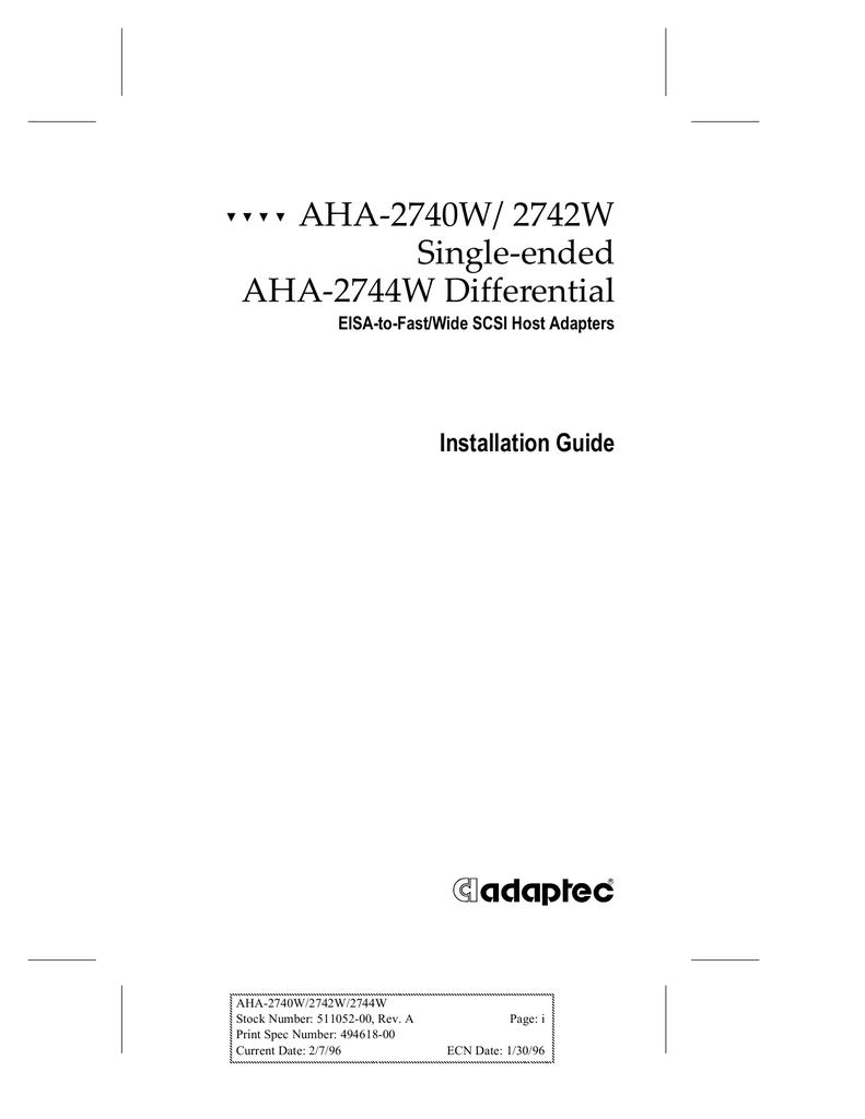 AHA-2740W Adaptec SCSI Wide EISA Controller NEW AHA-2740W ADAPTEC