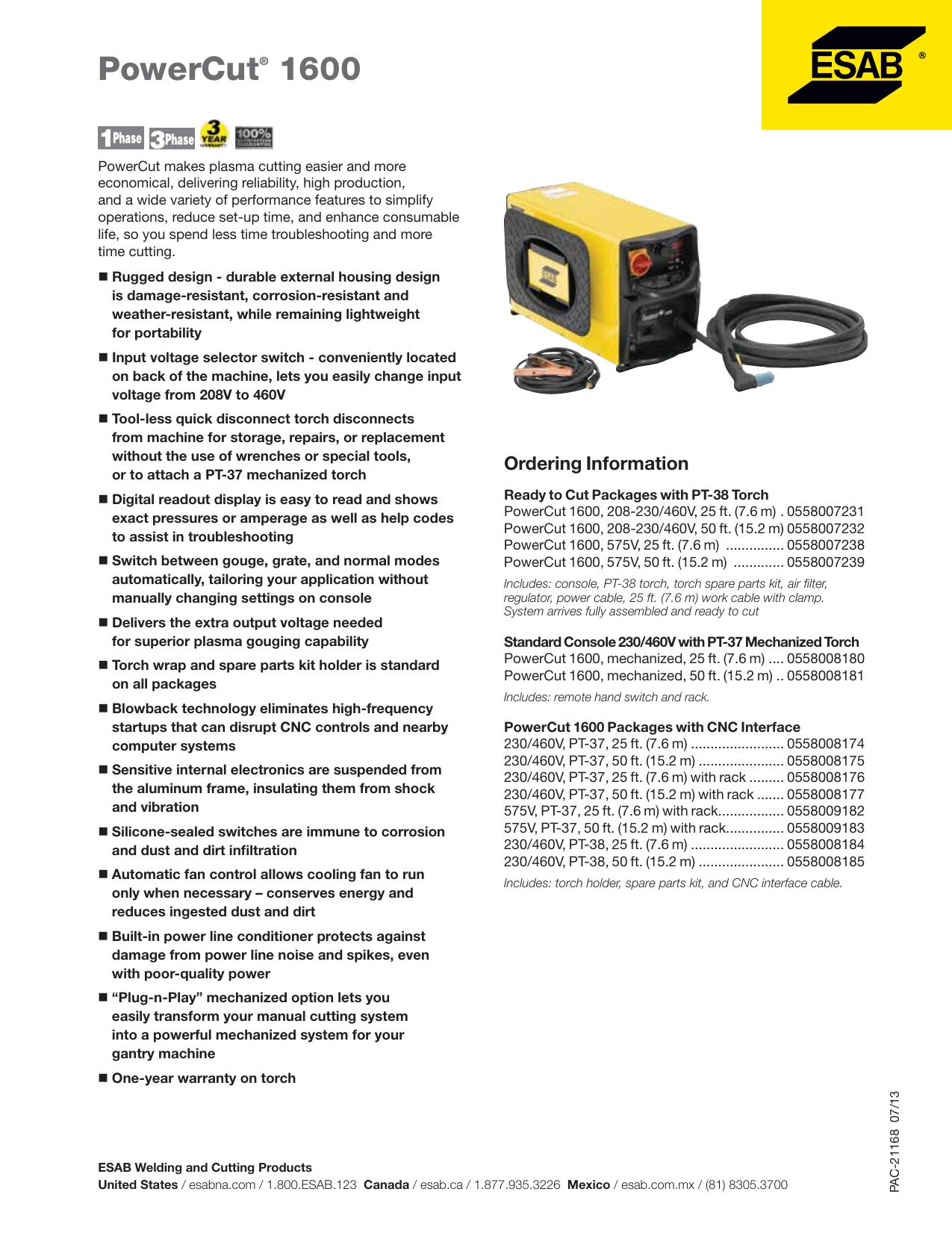 Powercut 1600 Esab Welding Cutting Products Manualzz
