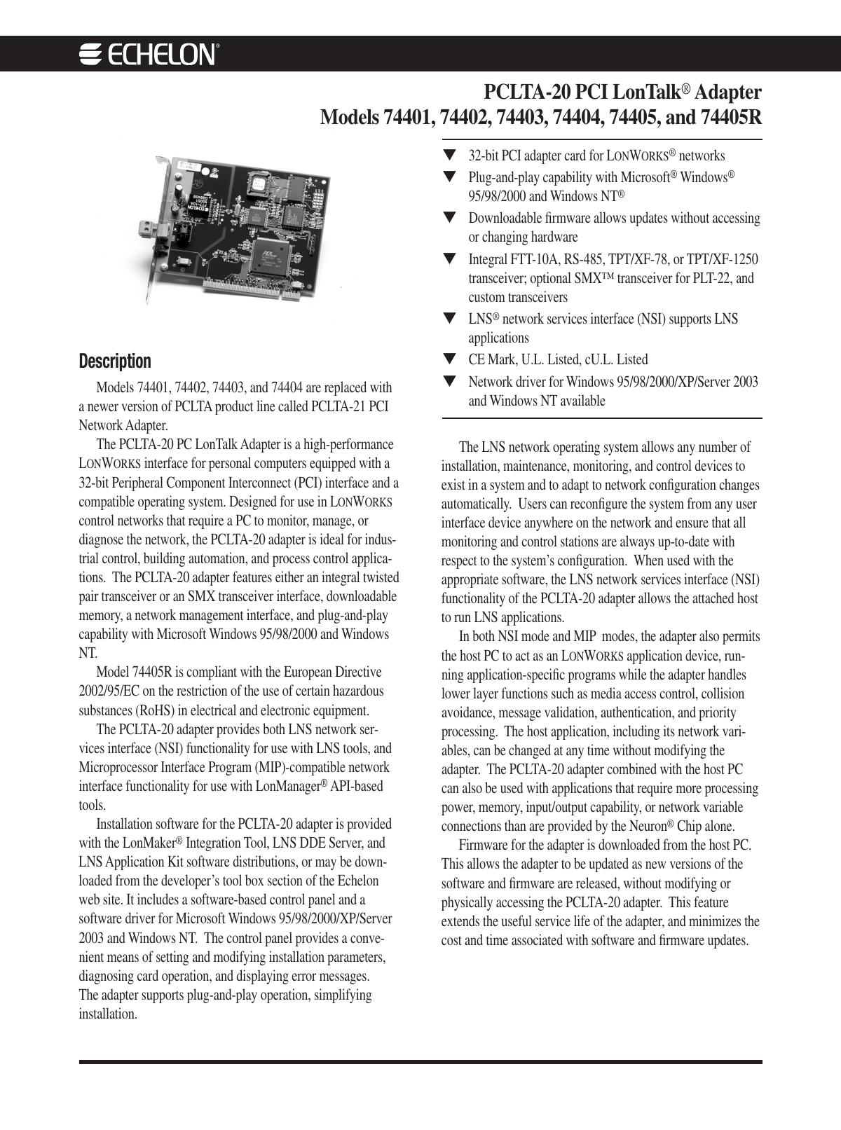 DRIVER UPDATE: ECHELON PCLTA-20