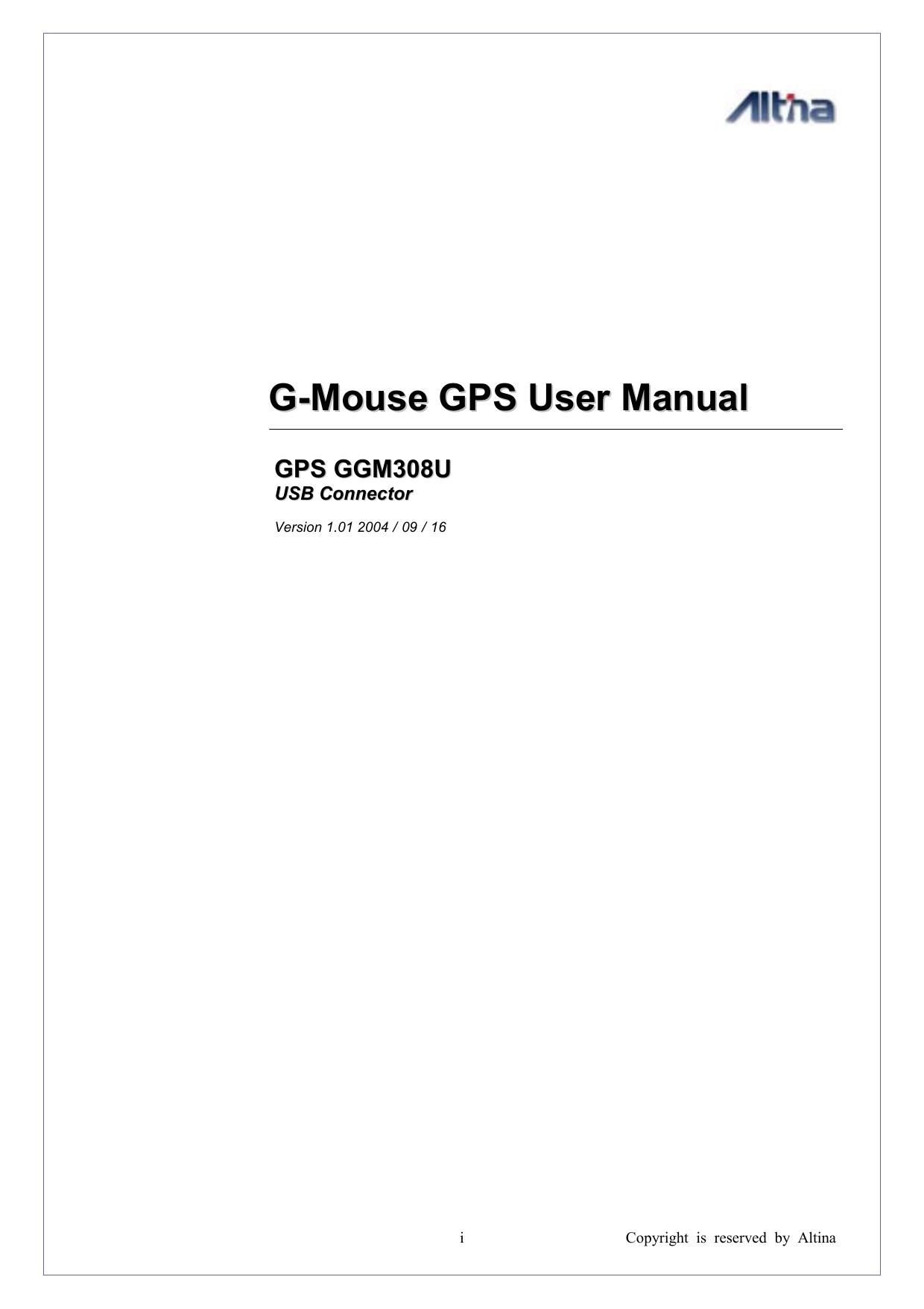 G-Mouse GPS User Manual GPS GGM308U | manualzz com
