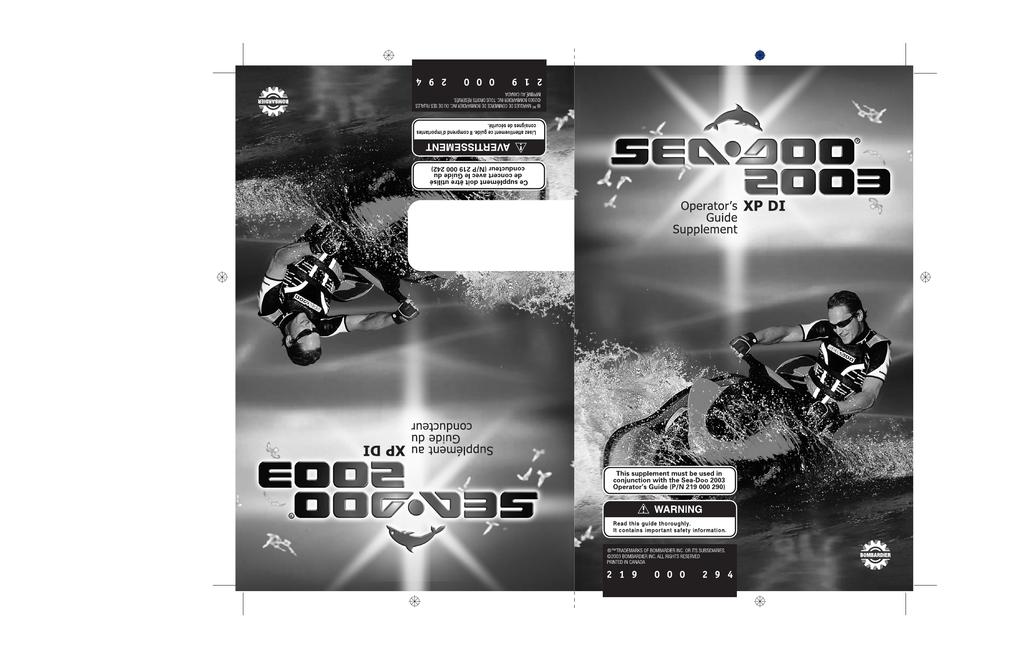SeaDoo XP DI Operating instructions | manualzz com