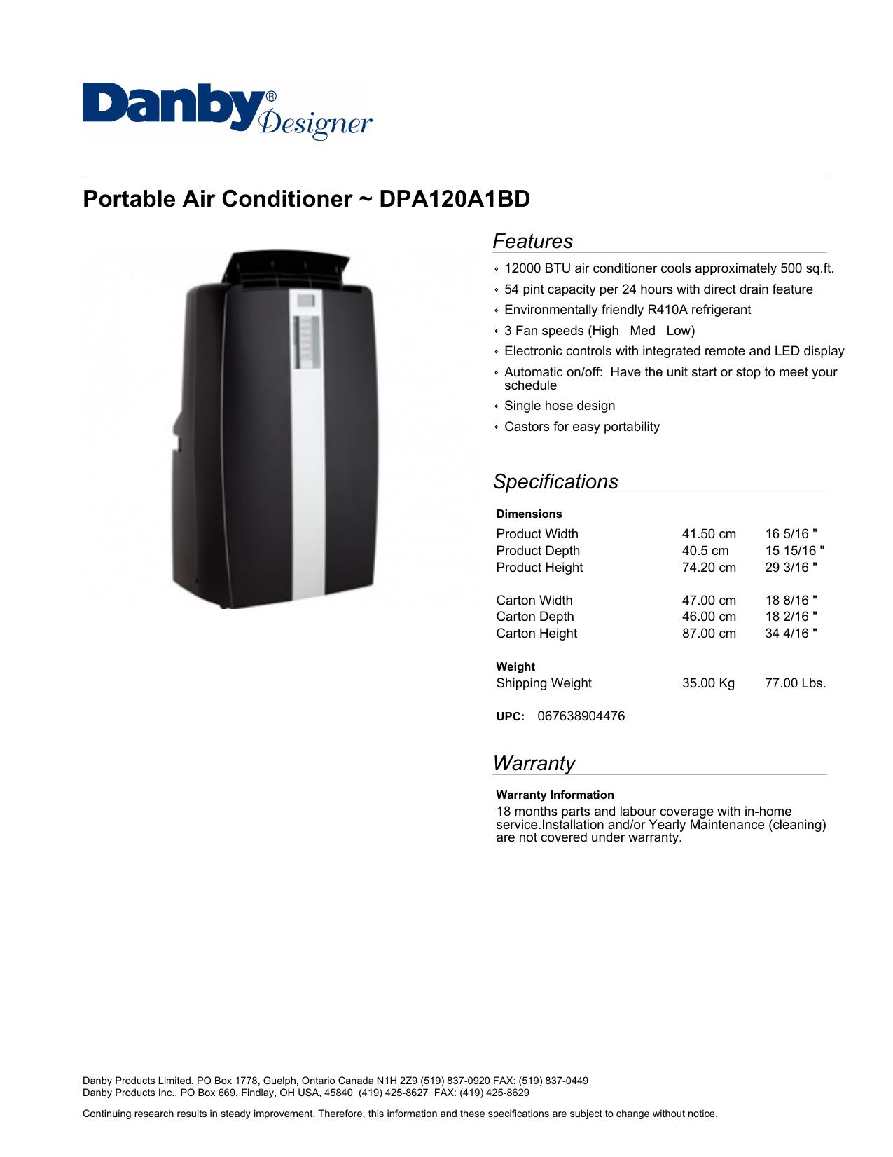 Portable Air Conditioner Dpa120a1bd Manualzz