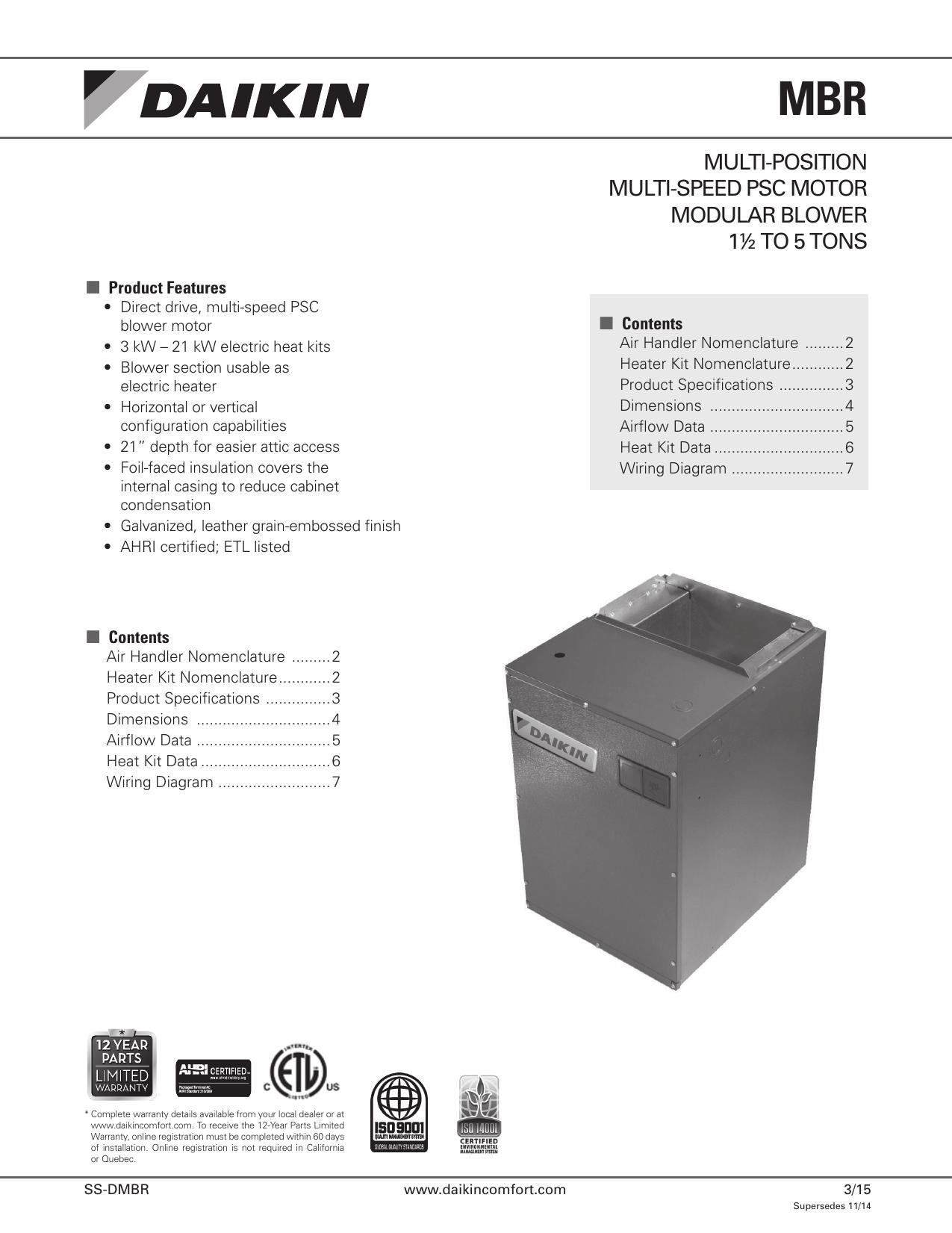 daikin | rxq10py1 | multi-position multi-speed psc motor