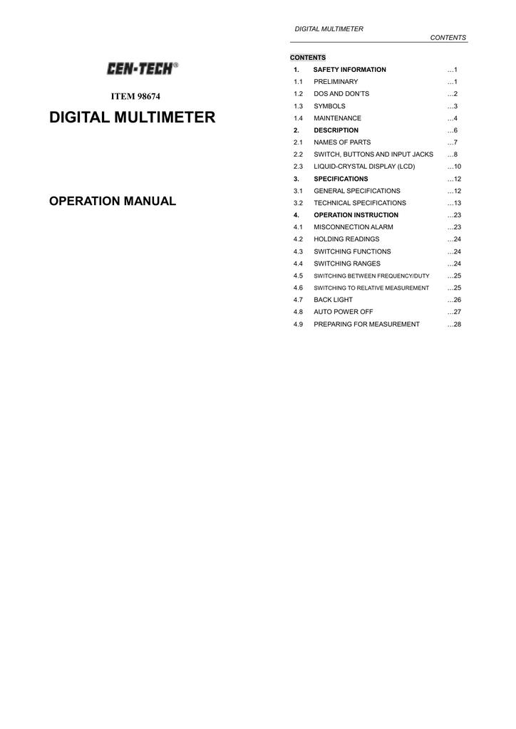 Cen tech p30756 user manual
