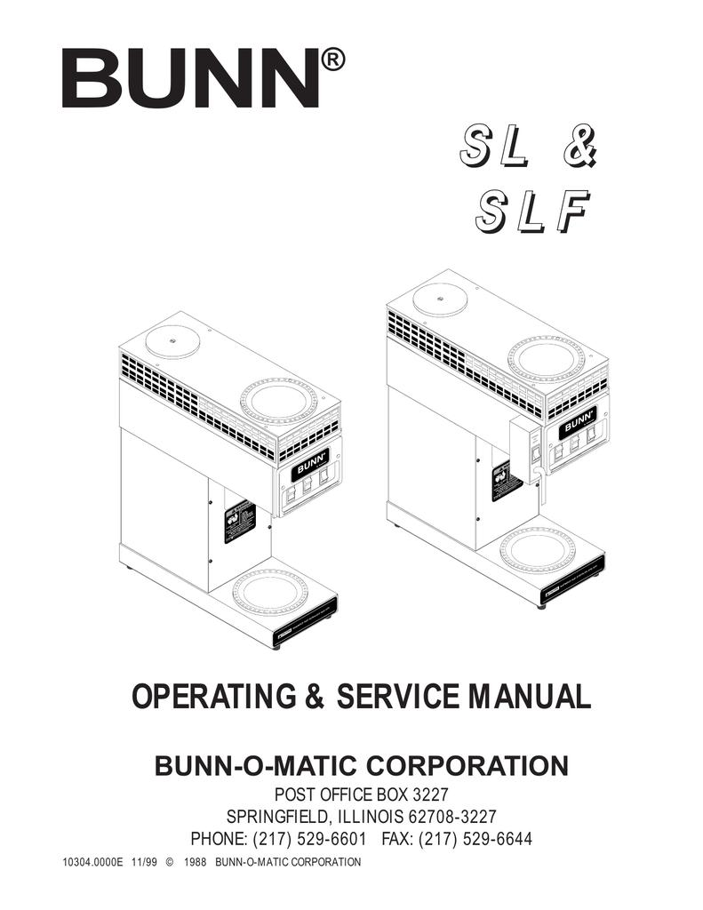 Bunn Slf Service Manual Wiring Diagram