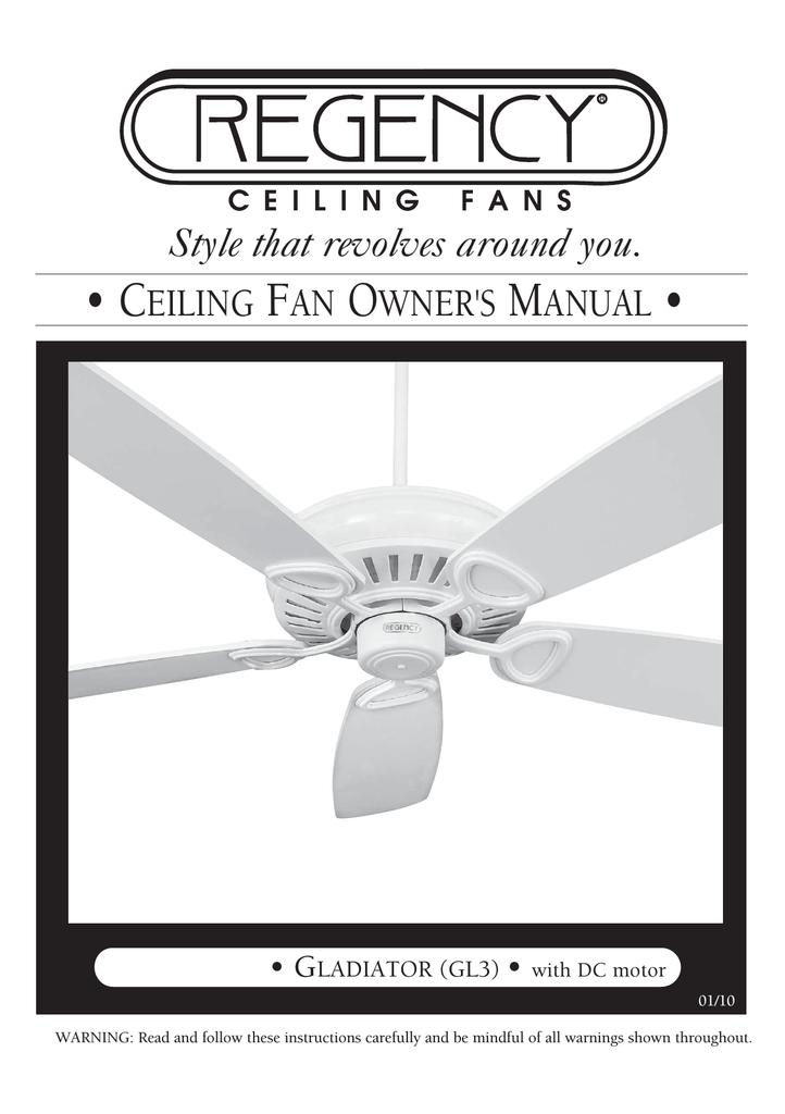 Regency Ceiling Fan Remote Control Instructions