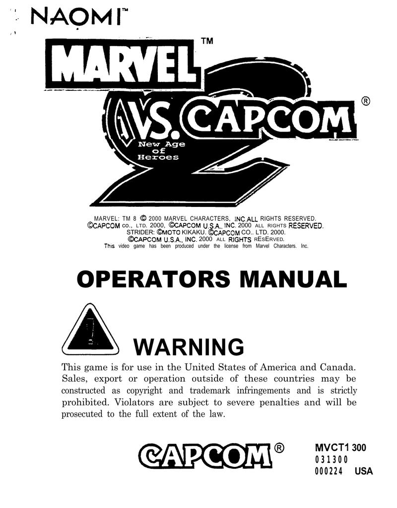 Capcom Naomi MARVEL VS  2 Service manual | manualzz com