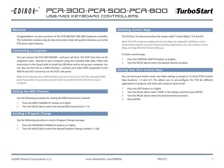 EDIROL PCR-300/500/800 TurboStart   manualzz com