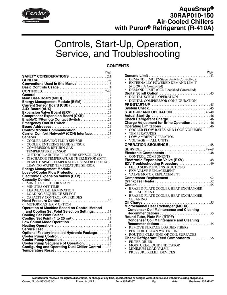 carrier aquasnap 30rap010 specifications manualzz com rh manualzz com carrier chiller 30gtn service manual carrier 30gx chiller service manual