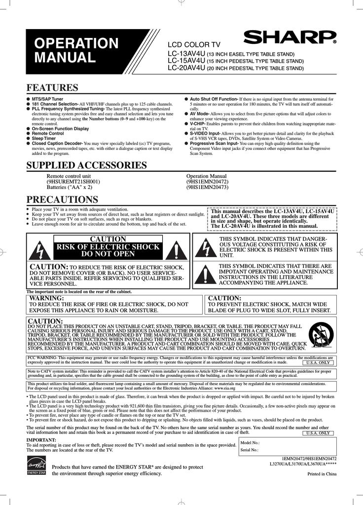 Sharp LC-13AV6U Instruction manual   manualzz com