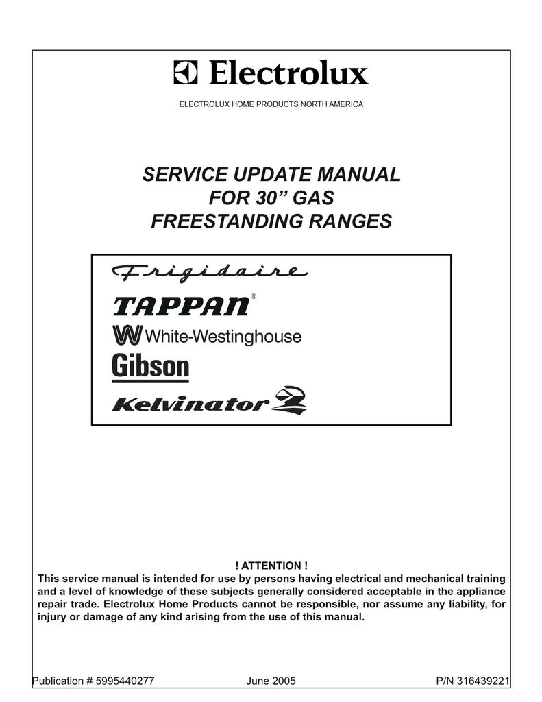 Electrolux 30 Gas Freestanding Ranges Service Manual Tappan Ac Wiring Diagram