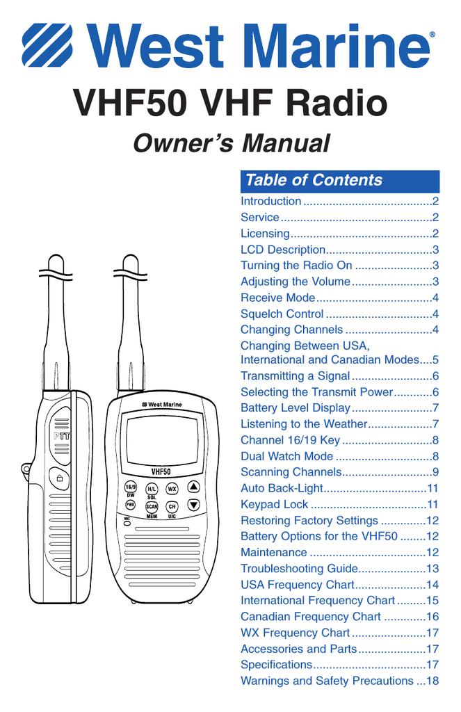 West Marine VHF85 Owner`s manual | manualzz com