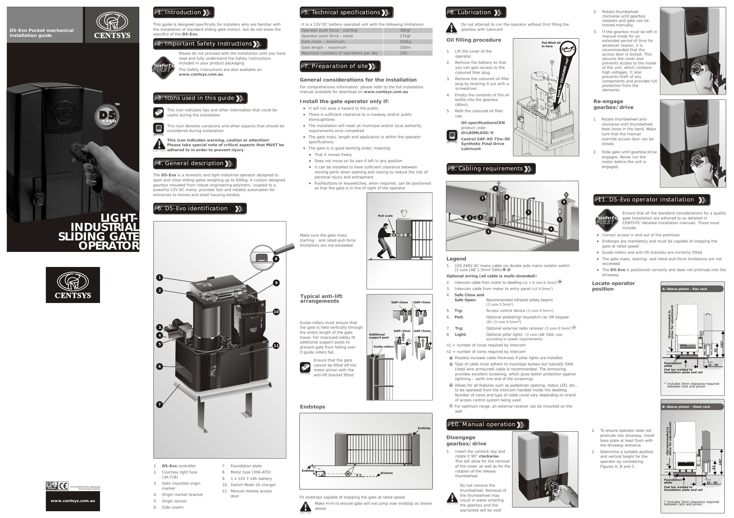 centurion gate motors d5 manual