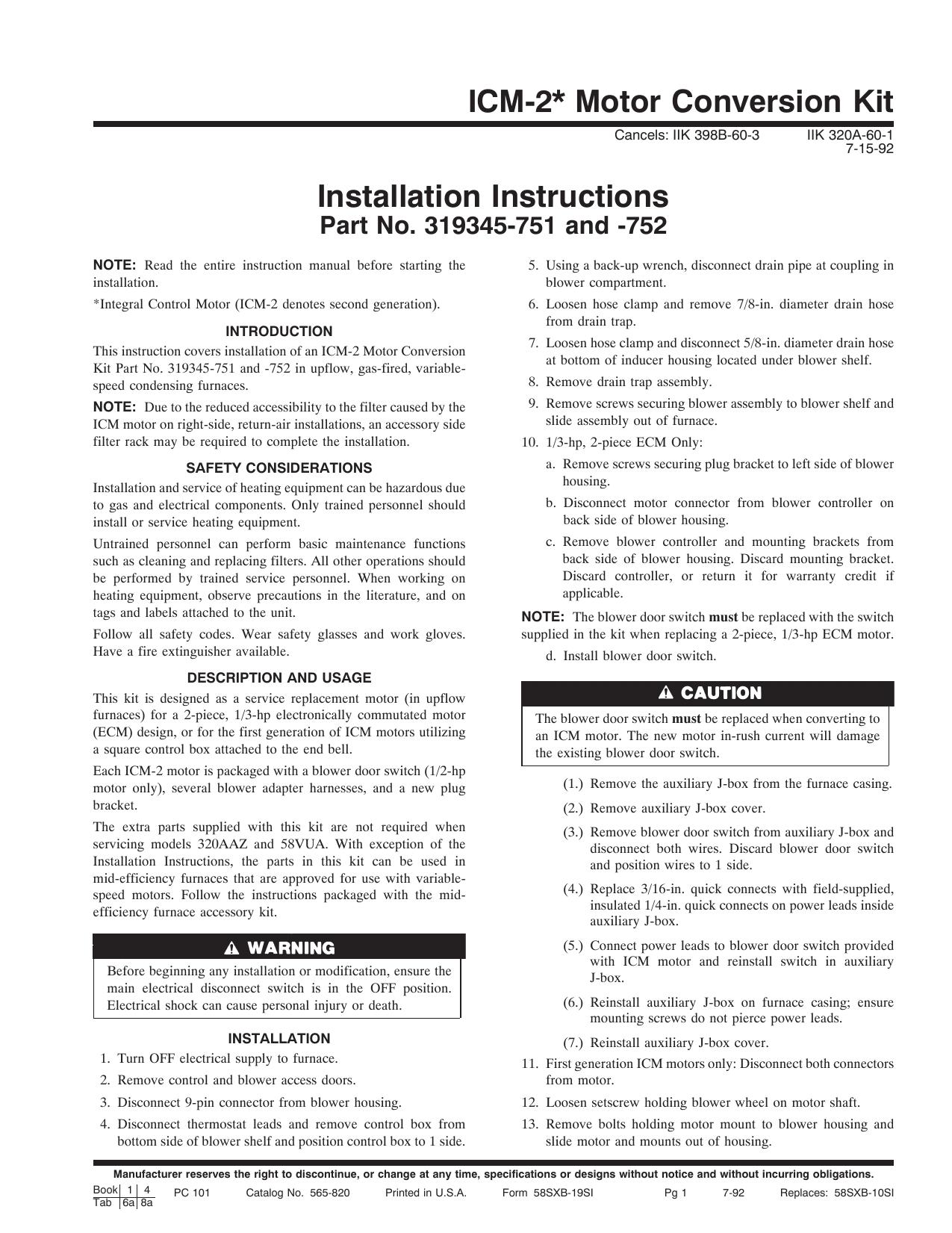 Icm 2 Motor Conversion Kit Installation Instructions Manualzz