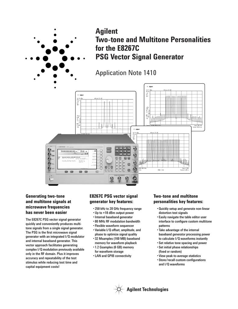 Agilent Two-tone and Multitone Personalities for the E8267C PSG