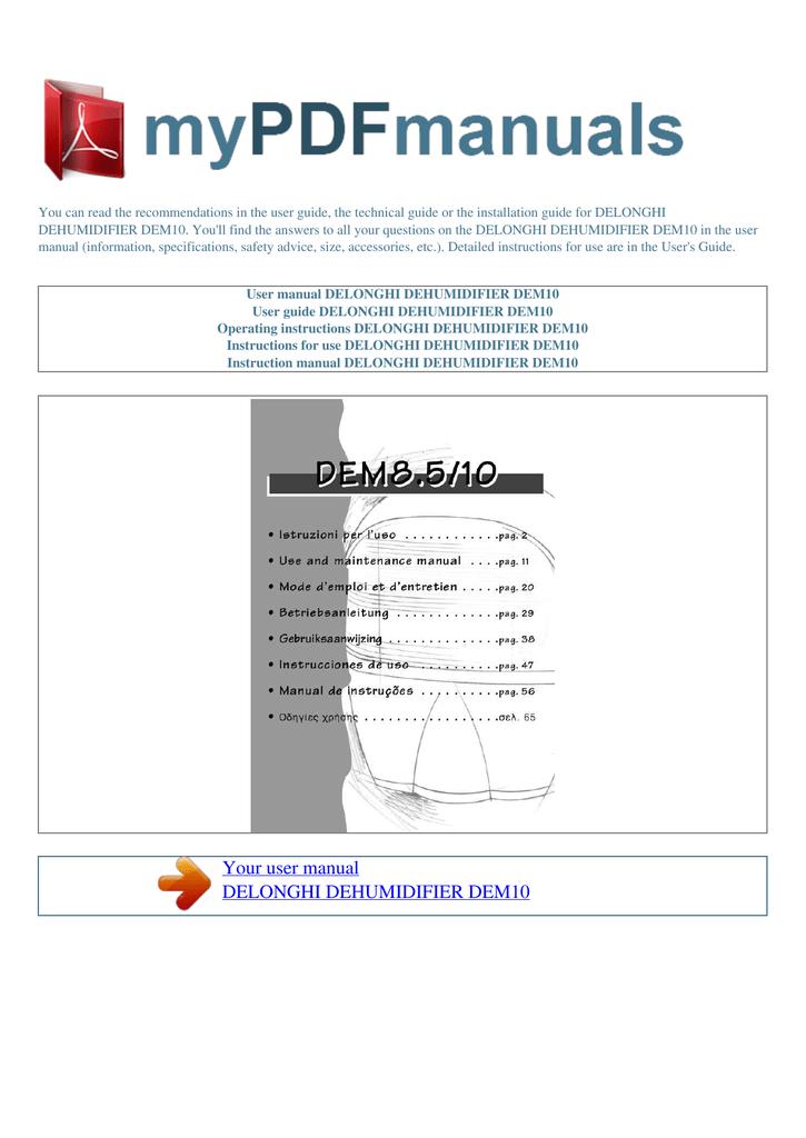 user manual delonghi dehumidifier dem10 manualzz com rh manualzz com delonghi dehumidifier operating manual delonghi dehumidifier user instructions